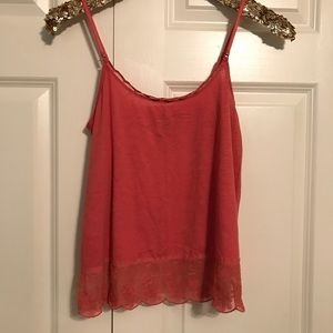 American Eagle soft red flowy lace cami